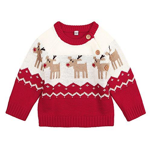 DEARWEN Unisex Baby Cute Deer Pattern Knit Pullover Sweater For Baby Boys and Girls(Red) 6-12 (Kids Sweater Pattern)