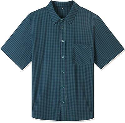 Hopioneer Men's Short Sleeve Shirt 100% Cotton Casual Button up Plaid Shirt