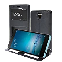 Redmi Note 2 Case,MEIRISHUN Slim Thin View Window Flip PU Leather Cover Folio Wallet Case Protective Skin with Stand Feature for Xiaomi Redmi Note 2 - Sappire