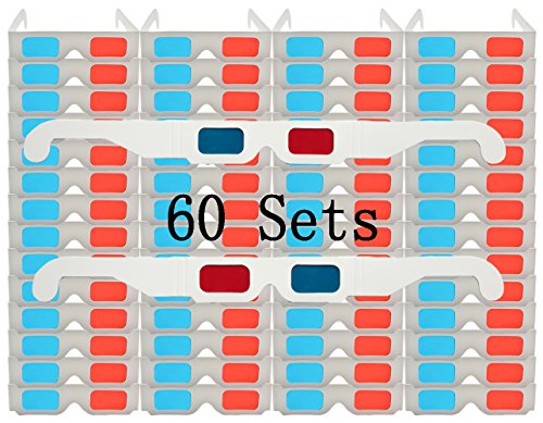 60 Pairs - FLAT- 3D Glasses Red and Cyan WHITE Frame Anaglyph Cardboard - White Frame By Ten Tree