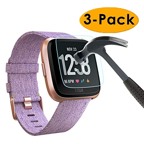 EXC Compatible Fitbit Versa Screen Protector [3 Pack] Tempered Glass Screen Protector for Fitbit Versa Smartwatch No Bubbling Waterproof 9H Hardness Full 3D Rounded Edge Coverage Screen ()