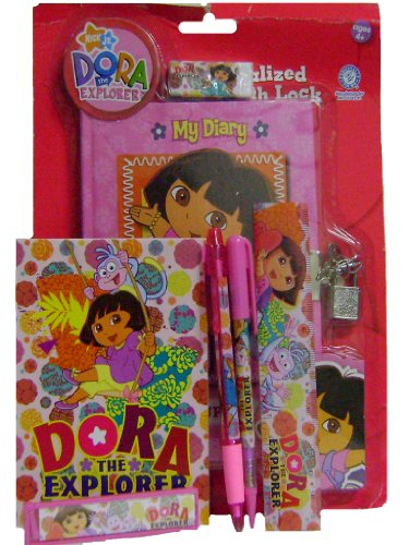 Fun Dora the Explorer Personalized Diary with Lock + Stationery -