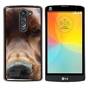 Oro Nariz Retriever perro canina- Metal de aluminio y de plástico duro Caja del teléfono - Negro - LG L Prime / L Prime Dual Chip D337