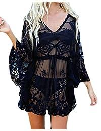 BYWX-Vestido de Gasa para Mujer con Encaje para Playa, Vestido de baño