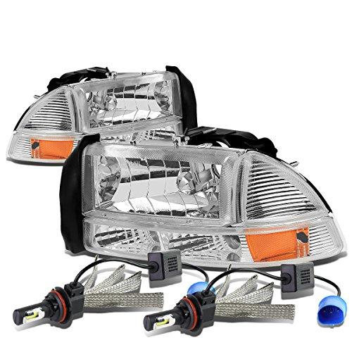 For Dodge Dakota/Durago 4Pc Pair of Chrome Housing Amber Corner Headlight + 9007 LED Conversion Kit ()