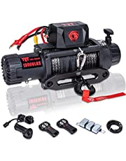 TYT 13000 lb. Advanced Load Capacity Electric Winch T1 Series, 12V Synthetic Rope Electric Truck Winch with Hawse Fairlead, Waterproof IP67 Winch with Wireless Remotes and Wired Handle(13000 lb Winch-Synthetic Rope Winch)