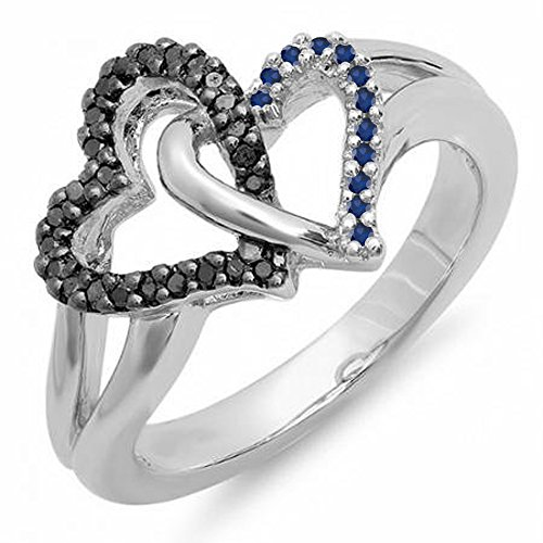 Dazzlingrock Collection Sterling Silver Round Blue Sapphire & Black Diamond Ladies Double Heart Love Promise Ring, Size -