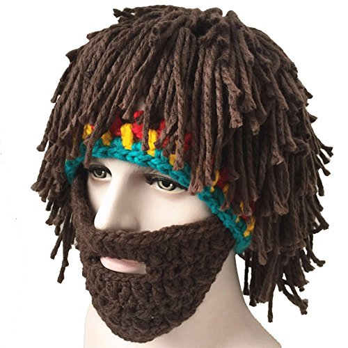 Creative Winter Hat with Knitting Wool Hair and Beards (Funny Caps)