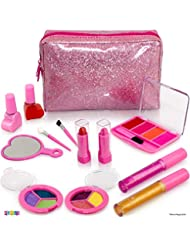 Kids Makeup Kit For Girl - 13 Piece Washable Kids Makeup Set – My First Princess Make Up Kit Includes Blush, Lip Gloss, Eyeshadows, Lipsticks, Brushes, Mirror Cosmetic Bag Best Gift For Girls Original
