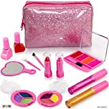 Kids Makeup Kit For Girl - 13 Piece Washable Kids Makeup Set - My First Princess Make Up Kit Includes Blush, Lip Gloss, Eyeshadows, Lipsticks, Brushes, Mirror Cosmetic Bag Best Gift For Girls Original