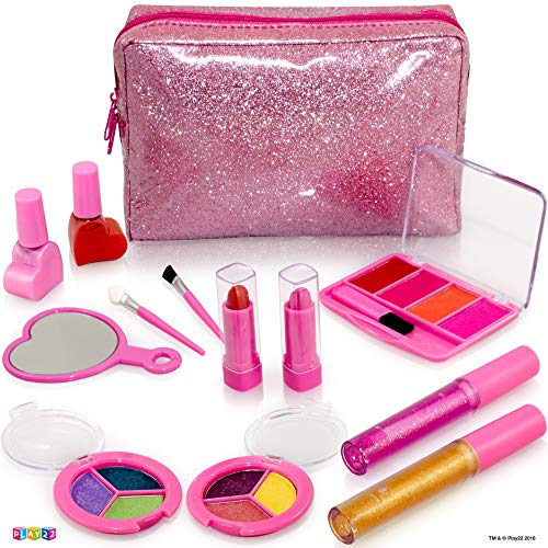 Kids Makeup Kit For Girl - 13 Piece Washable Kids Makeup Set - My First Princess Make Up Kit Includes Blush, Lip Gloss, Eyeshadows, Lipsticks, Brushes, Mirror Cosmetic Bag Best Gift For Girls Original ()