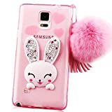 note 4 case, Sunroyal Slim Soft Transparent TPU Crystal Clear 3D Cute Cartoon Rabbit [Bling Diamond Silicon Ear] Case with Hairball Pompon Wrist Strap Wristlet For Samsung Galaxy Note 4 N9100 Pink