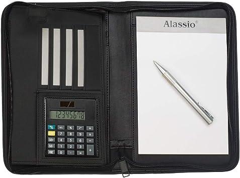 Alassio 30144 24 x 18 x 3,5 cm Businessmappe aus Lederimitat Dokumentenmappe in schwarz Schreibmappe CORNIGLIA im DIN A5 Format Mappe ca mit Taschenrechner
