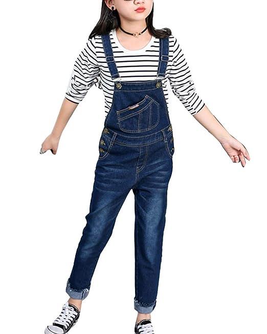 best website f3ec8 82705 Ragazze Salopette di Jeans Bambina Jeans Tuta Denim Bib Overall Lunga Jeans