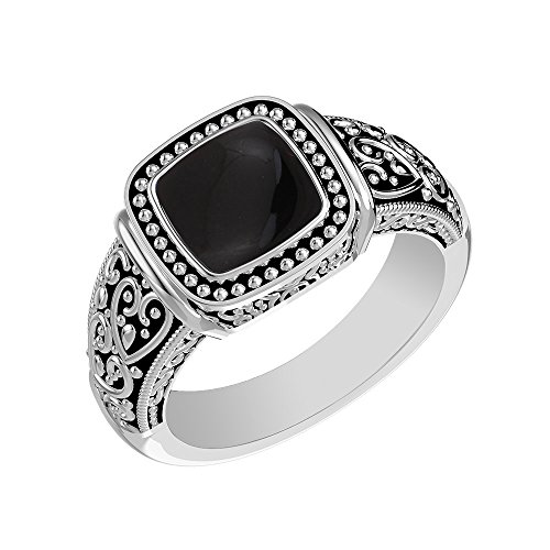 Silver Onyx Sterling Genuine (1.90ctw, Genuine Black Onyx Cushion & .925 Silver Overlay Solitaire Ring Size-7)