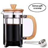 French Press Coffee/Tea Maker by Sivaphe Espresso Press Milk Frother with 18/8 Stainless Steel Filter High Borosilicate Carafe Durable Bamboo Handle Gifted Coffee Scoop 34oz/1000ml