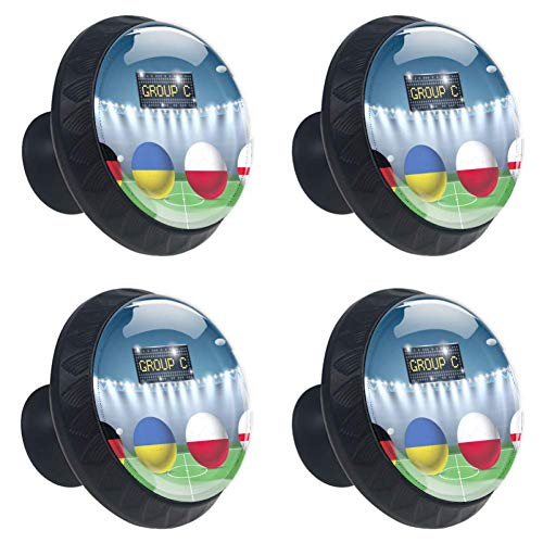 - DEYYA 4 PCS 30mm Soccer Stadium Crystal Glass Cabinet Knob Drawer Pull Handle for Kitchen, Cupboard, Dresser, Wardrobe, etc