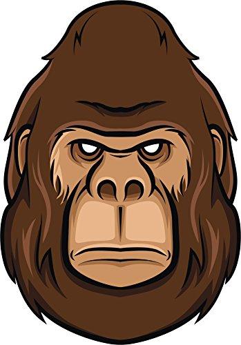 Scary Brown Hairy Gorilla Big Foot Cartoon Vinyl Decal Sticker (12