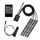 Car LED Strip Light With Remote Control,GeeKeep 4pcs 9 LED DC 12V Multi Color Car Interior Music Light LED Underdash Lighting Kit with Sound Active and Wireless Remote Control, Car Charger Included