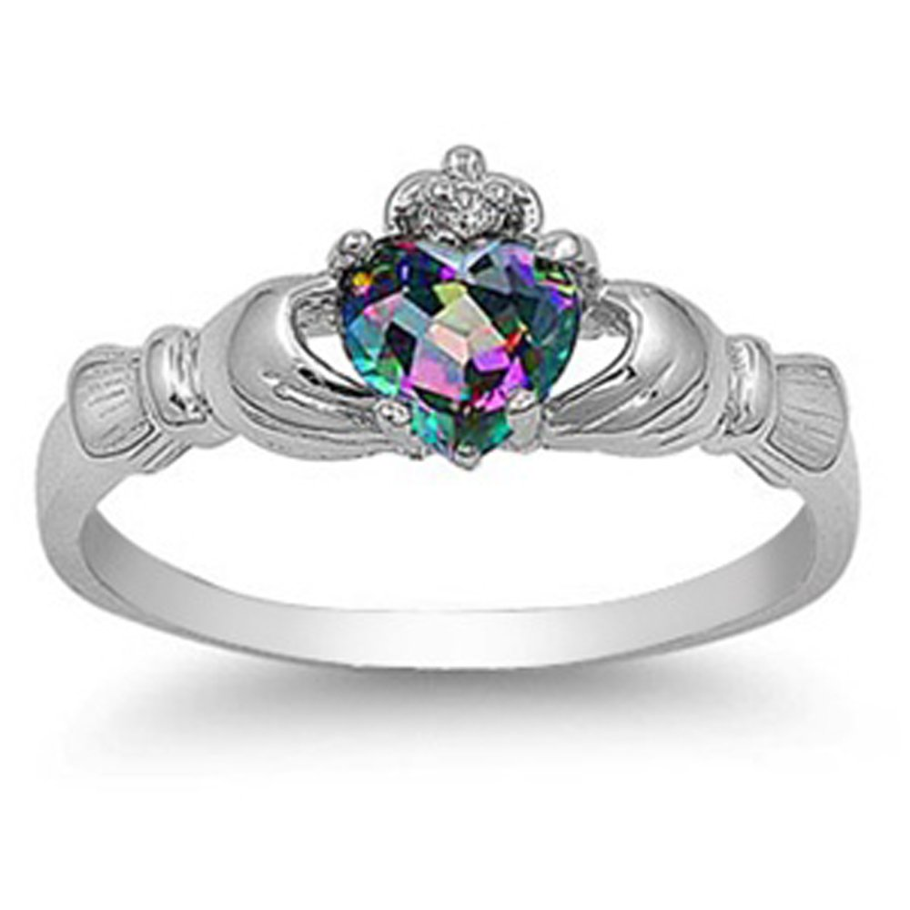 Sterling Silver Simulated Rainbow Mystic Topaz CZ Heart Claddagh Ring 9MM (Size 3 to 13), 11