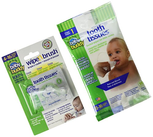 Baby Buddy Wipe-N-Brush & 30 Wipes Stage 3 for Babies/Toddlers, Kids Love Them, Clear