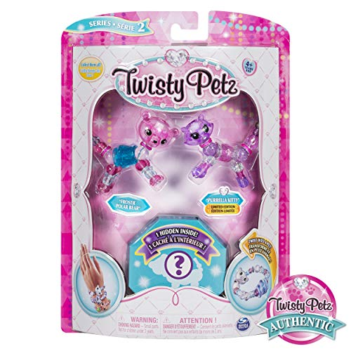 Twisty Petz, Series 2 3-Pack, Frostie Polar Bear, Purrela Kitty and Surprise Collectible Bracelet Set for Kids -