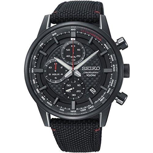 Seiko Men's 43.9mm Black Cloth Band Titanium Case Hardlex Crystal Quartz Analog Watch (Seiko Mens Titanium Case)