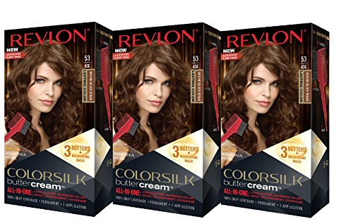Revlon Colorsilk Buttercream Hair Dye, Medium Golden Brown, 3 Count