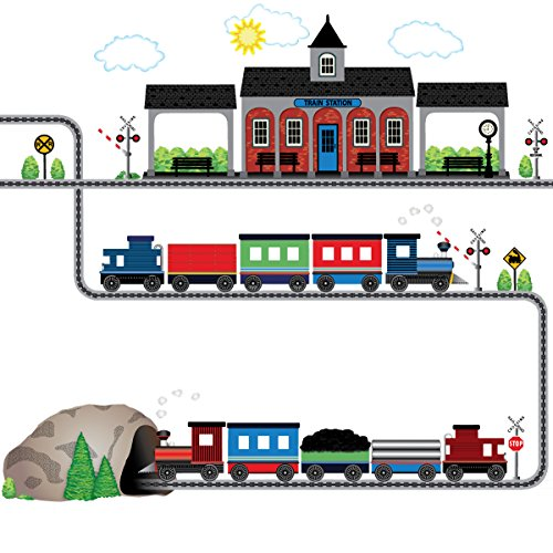 Two Freight Trains, Train Station, Tunnel with Straight and Curved Railroad Track Matte Wall Stickers Color (Straight Tunnel)