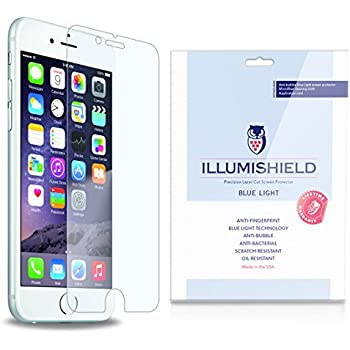 """iLLumiShield - Apple iPhone 6 Plus Screen Protector 5.5"""" + (HD) Blue Light UV Filter / Premium High Definition Clear Film / Reduces Eye Fatigue and Eye Strain - Anti- Fingerprint / Anti-Bubble / Anti-Bacterial Shield - Comes With Free LifeTime Replacement Warranty - [2-Pack] Retail Packaging"""
