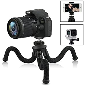 Camera / Phone Tripod,Patekfly 12 Inch Flexible Camera Tripod For GoPro/Canon/Nikon/Sony DSLR Cam/Gopro Action Cam, Phone Tripod Stand with Cell Phone Holder Clip For iPhone/Android Phone(3 in 1)