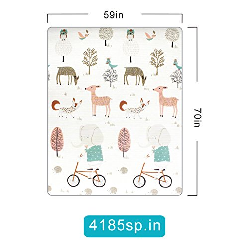 Play mat baby Care Play Mat Foam Floor Gym Slip Reversible Waterproof Portable double sides Kids Play Mat Baby Toddler Outdoor or Indoor Use(Deer, 59x70x0.8in) by Gupamiga (Image #2)