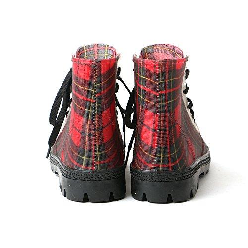 TONGPU Ankle Women's Waterpoorf Red Plaid Boots Fashin SBPqxSU0