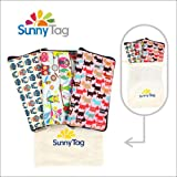 3-Pack Foldable Reusable Eco-Friendly Grocery Bags Wallet Style Shopping Travel Tote Owls Dogs Water Repellent Washable Heavy Duty Hold up to 33 LBS or 15 KG by Sunny Tag