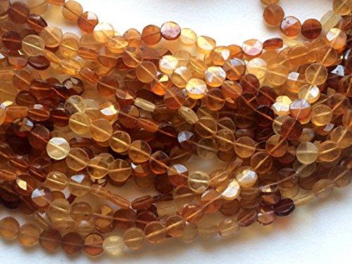 1 Strand Natural Hessonite Garnet Coins, Hessonite Garnet Star Faceted Coin Beads, Natural Hessonite Necklace, 7mm, 13 inch