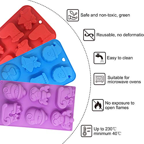 Dinosaur Chocolate Mold Ice Cube-Purple,Blue Green YuCool 3 Pack Silicone Dinosaur Molds with 12-Cavity for Candy Chocolate Jelly