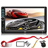 Double Din Car Stereo Upgrade 7 inch Touch Screen Car Radio MP5/4/3 Player FM Radio Video Audio Compatible with Bluetooth Support Rear-View Camera Mirror Link Android & iPhone
