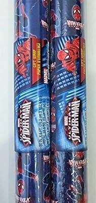 Licensed Children's Gift Wrap Paper (2 Rolls) (Spiderman) by Greenbrier