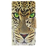 AOFad Nokia Lumia 930 Case Wallet Cover Yellow Kickstand Video Screen Protector PU Leather and TPU (2-in-1) Protective Cell Phone 3rd Series With Tiger Pattern Fit For Women and Men 5