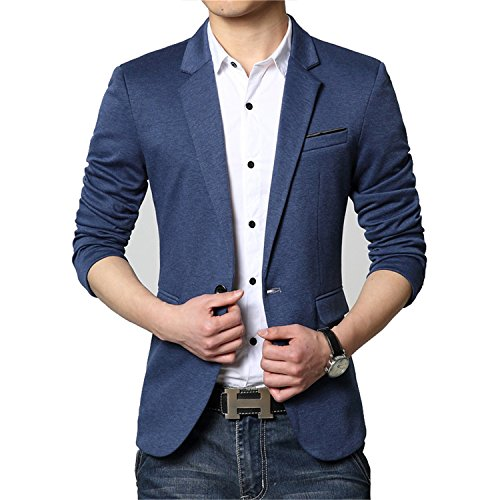 Susan1999 Fashion Casual Men Blazer Cotton Slim Korea Style Suit Blazer Jacket M-6Xl Blue M