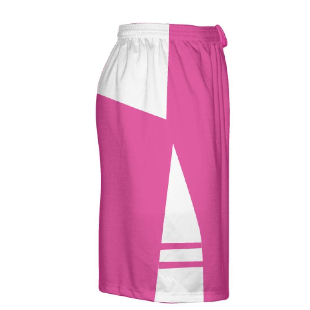 Pink Boys Mens Lacrosse Shorts Youth Youth Hot Pink White Lax Shorts