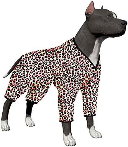 LovinPet - Ropa para perros grandes después de la cirugía / Estampados en rosa neón de guepardo de punto elástico cepillado doble / Protección UV, alivio de la ansiedad de las mascotas, pijama ligero para mascotas / Pijamas para perros de cobertura completa 2