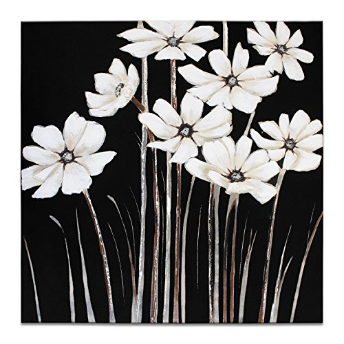 IARTS Canvas Wall Art Oil Painting White Daisies Flower 100% Handmade for Home Décor 24 Inches Pre Framed, Black and White, Ready to (Daisy Framed)