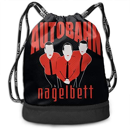 Drawstring Bag Sport Gym Travel Bundle Backpack Pack Beam Mouth Shoulder Bags, Autobahn Nagelbett