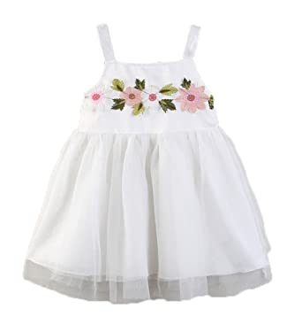 ee8137f7eec1a WangsCanis 1-6 Ans Bébé Fille Robe Princesse en Tulle sans Manche Robe  Blanc avec