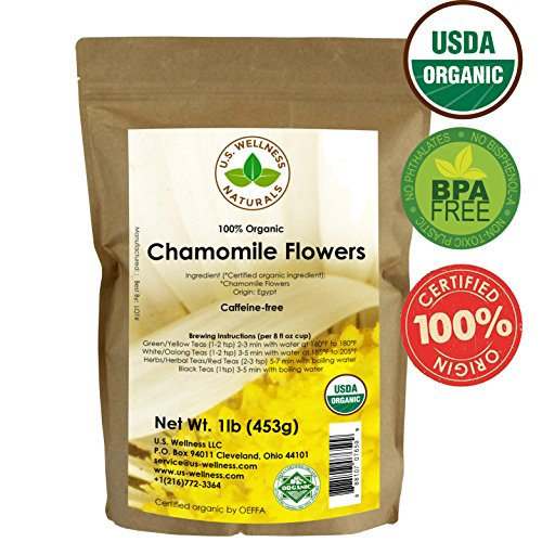 German Chamomile Flowers (Chamomile Tea 1LB (16Oz) 100% CERTIFIED Organic (USDA seal) Chamomile Flowers Herbal Tea (Matricaria Chamomilla) in 1 lb Bulk Kraft BPA free Resealable Bags from U.S. Wellness)