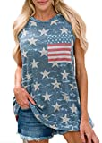 Women's July 4th American Flag Print Sleeveless T Shhirt Swing Loose Cotton Striped Tank Tops Star Printed L