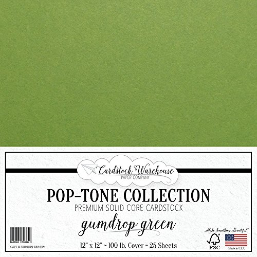 Gumdrop Green Cardstock Paper - 12 x 12 inch 100 lb. Heavyweight Cover - 25 Sheets from Cardstock Warehouse -