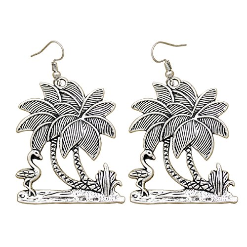 Vintage Silver RechicGu Art Deco Victorian Antique Tropical Beach Flamingo Palm Tree Leaf Big Dangle Earrings Hen Party (Tree Earrings Palm Tropical)