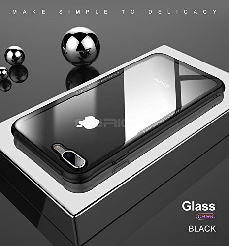 Amozo Ultra Thin Tempered Glass Transparent Back Cover Case for Apple iPhone 7  Black  Mobile Phone Cases   Covers